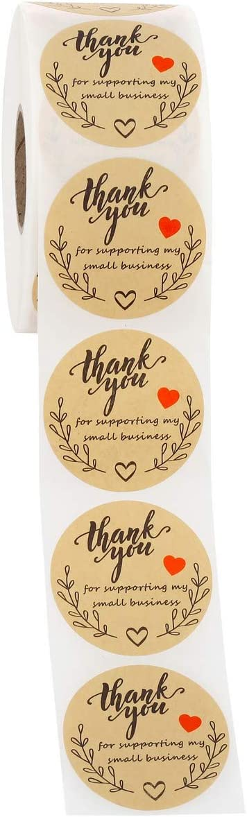 Mogokoyo 1000 pegatinas de agradecimiento para apoyar a mi peque/ña empresa 5 cm redondo autoadhesivo Kraft de 5 cm estilo #2
