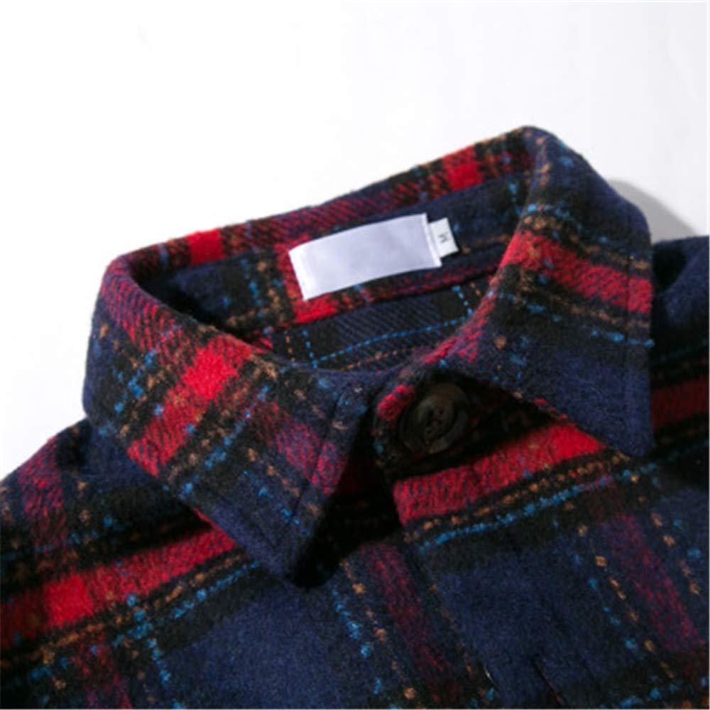 Fashion Plaid Mens Casual Long Sleeve Shirt in Long Lapel Jacket Men