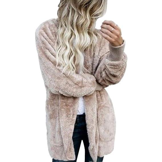 755c7bf2858 Amazon.com  Women Winter Fuzzy Fleece Jacke Cotton Coat