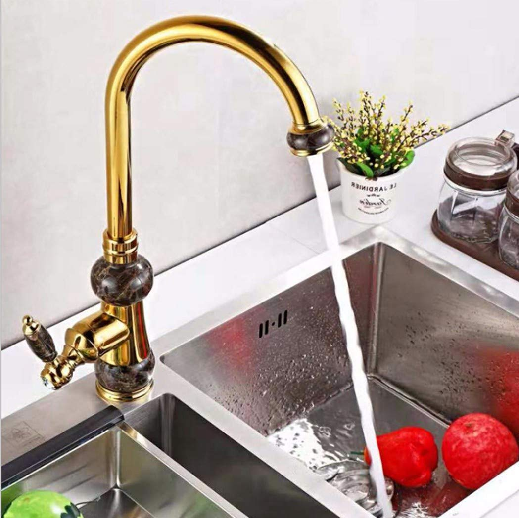 C GiiWii Faucet Retro Copper redatable Tap for Kitchen Washbasin Sink Hot and Cold Water Mixing,C