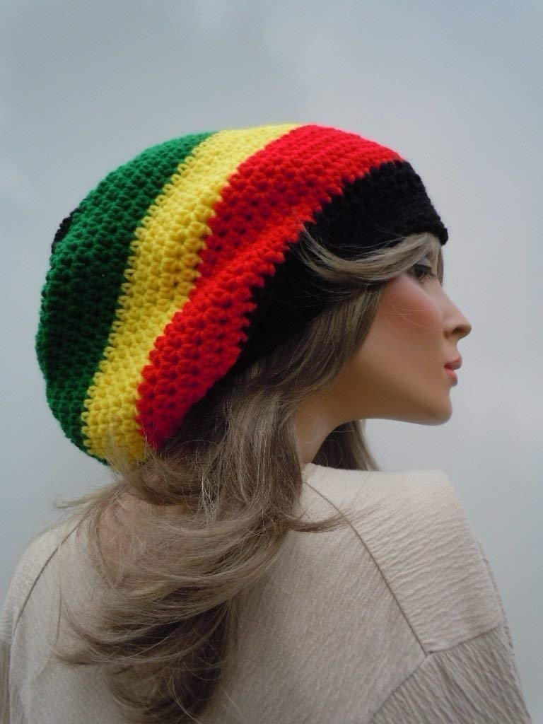 Dreadlock Tam Reggae Style Hippie Hat Jamaica Flag Colors Bag Hat Black Red Yellow Green Hat Rasta Tam Cap Jamaican Colors Rasta Hat