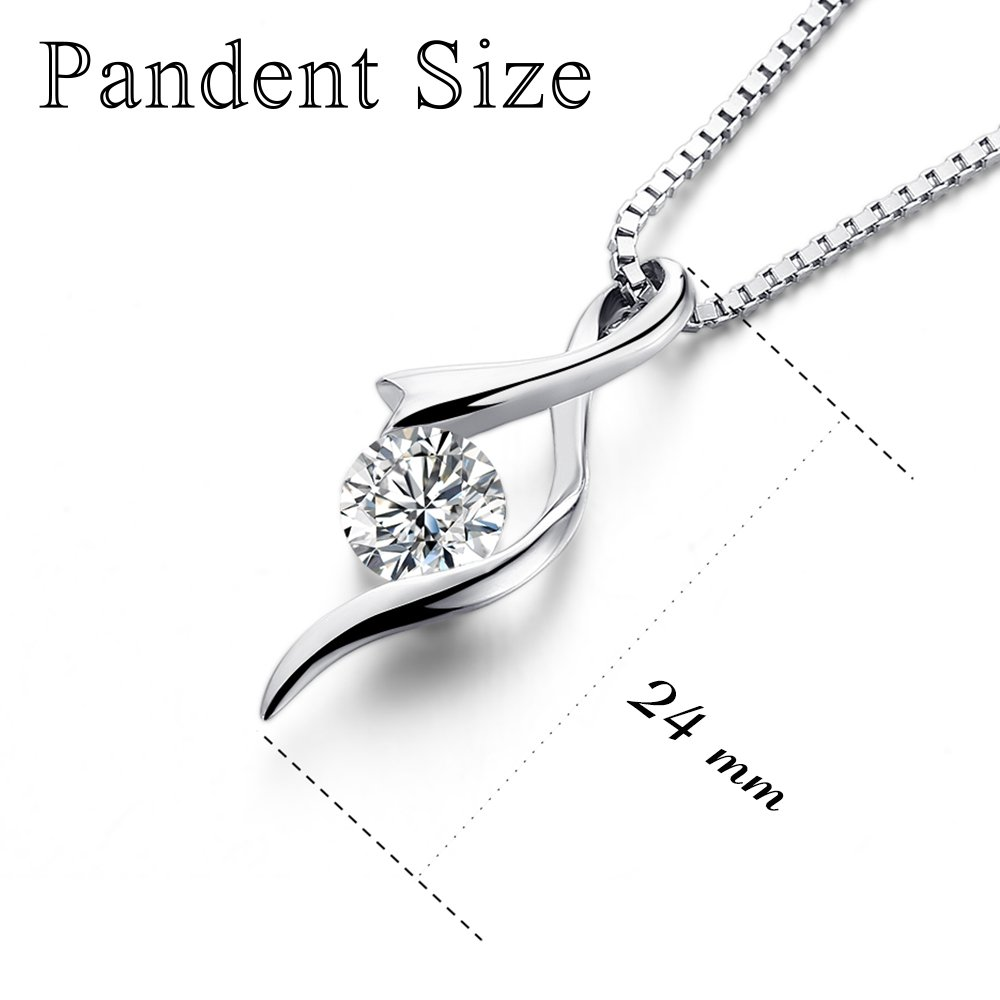 GAGAFEEL Necklace, Mother\'s Day Gift S925 Sterling Silver Women Girl Pendant CZ Gemini Necklace Box Chain (Style 1)