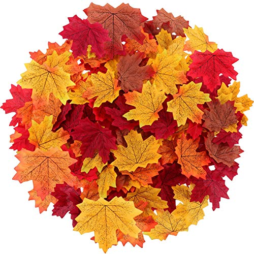 - Maple Leaves Artificial Fall Leaves Bulk 400Pcs Assorted Mixed Faux Fall Color Maple Leaves Decoration Fake Maple Left Art for Craft, Wedding, Festival, Party, Thanks-Giving and Outdoor Decorating