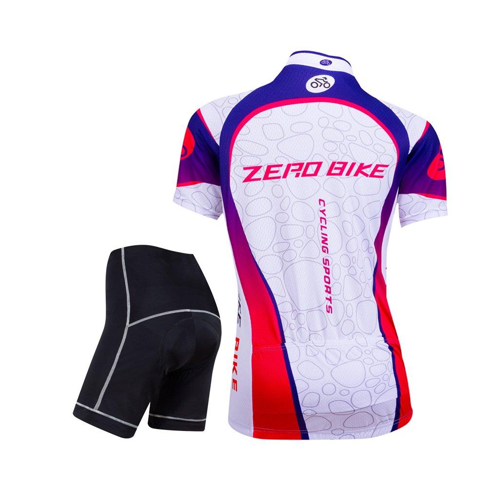 ZEROBIKE/&Reg; Confortevole Donne Manica Corta Full-Zip Jersey di Riciclaggio Giacca Ciclismo Camicia Rapida Cuscino Dry Traspirante 3D Imbottite Shorts Pantaloni delle Calzamaglia