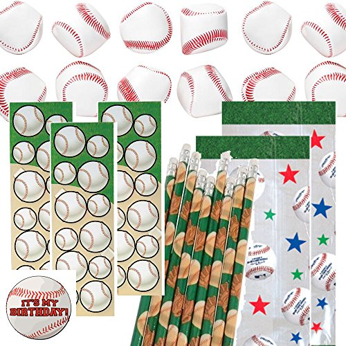 (Baseball Party Favors for 12 - Baseball Soft Stuff Balls (12), Baseball Pencils (12), Baseball Stickers (12), Baseball Theme Favor Gift Bags and a Happy Birthday Sticker (Clear))