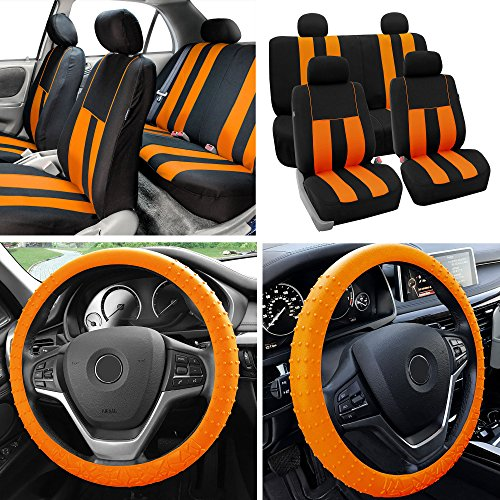 - FH Group Fabric Full Set Seat Covers (Airbag & Split) w. Silicone Steering Wheel Cover Orange/Black- Fit Most Car, Truck, SUV, or Van