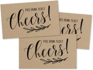 50 Kraft Rustic Drink Ticket Coupons for a Free Drink at Weddings, Work Events or Party Bar, One Free Beer Wine Alcohol Soft Drink or Food Vouchers, Cheers Large Drinking Paper Raffle Cards