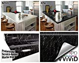 Black Marble Gloss Vinyl Architectural Wrap for Home Office Furniture Wallpaper Tile Sheet 6.5ft x 15.9'' Roll (6.5ft x 15.9'' 1 roll)