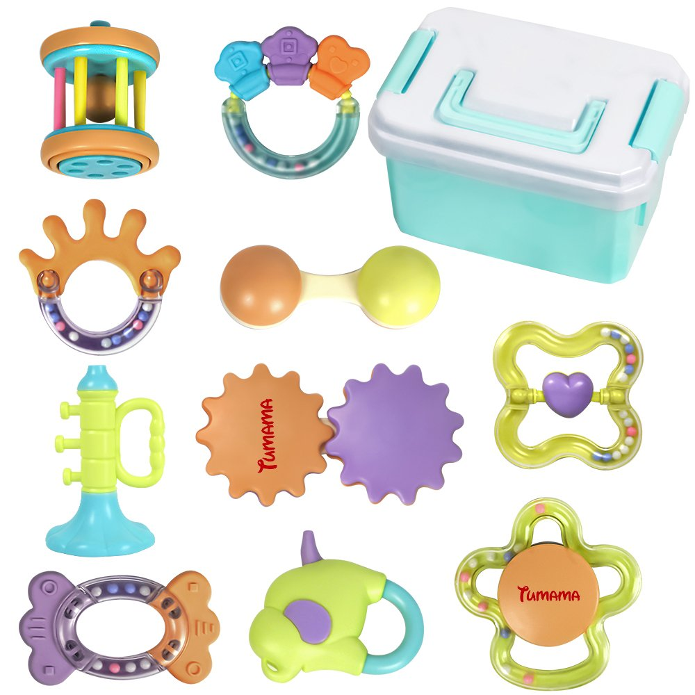 TUMAMA 10 Pack Baby Rattle Toy, Infant Teething Toys, Ball Shaker, Grab, Spin Rattles, Developmental Toys with Storage Birthday Present for 0-6 months Newborn Boy and Girl (Bright Colors)