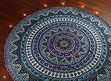 RAJRANG Indian Mandala Roundie, Bohemian Beach Throw Tapestry, Hippie Boho Gypsy Round Table Cloth Cover, Zodiac Meditation Yoga Sheet, Astrology Celtic Wall Hanging