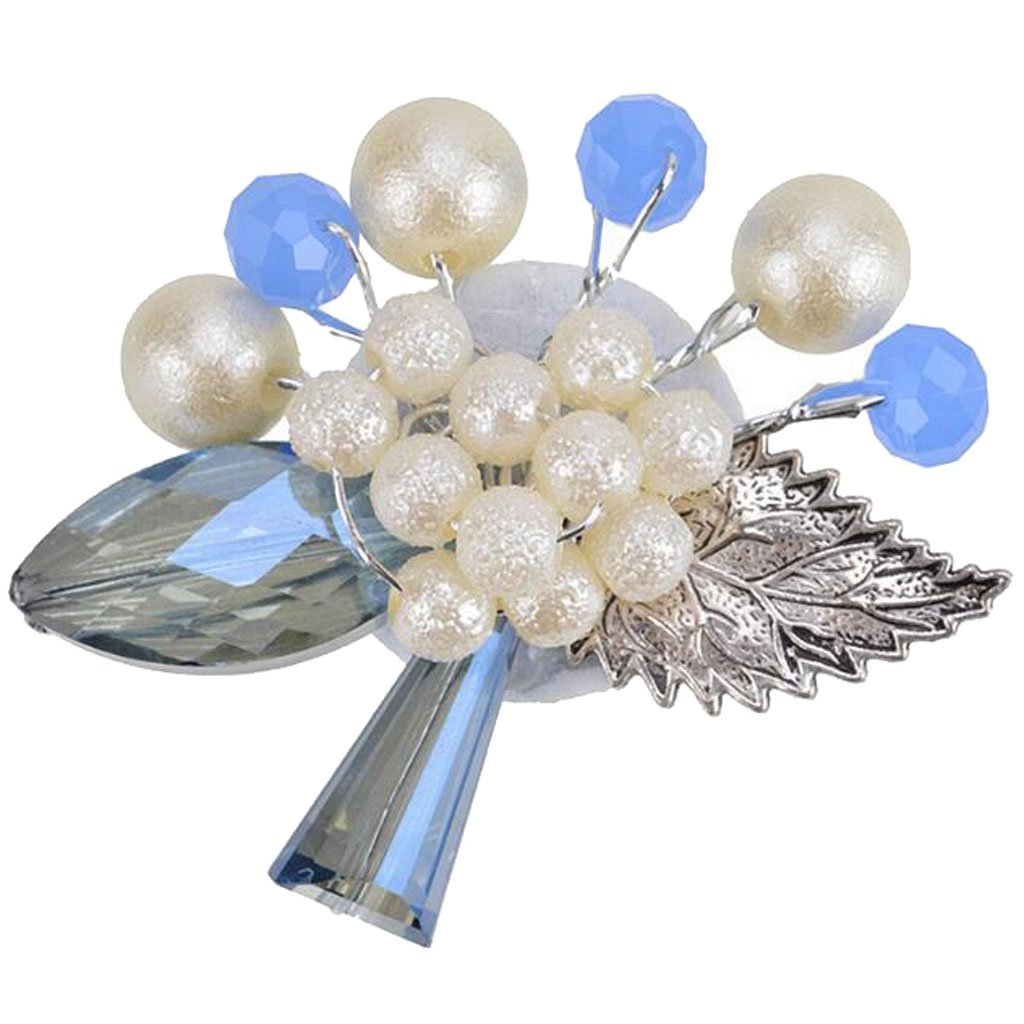Modogirl Handmade Exaggeration Blue Bead Brooch Pin Big Crystal Stone Leaf with Simulated Pearl Flower Corsage