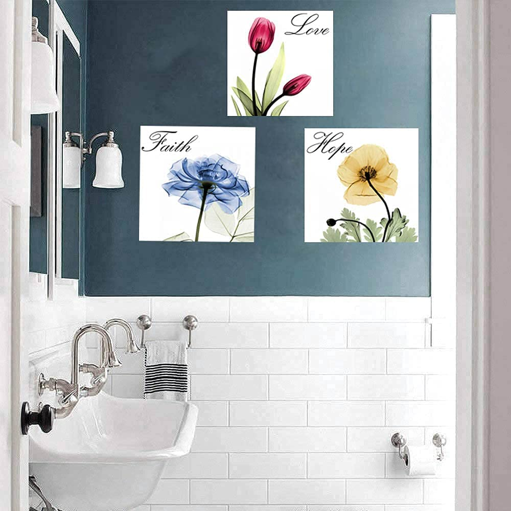 Flower Canvas Wall Art Love Inspirational Floral Wall Decor Red Blue Yellow Colorful Pictures Poster Print Bathroom Wall Art Living room Bedroom Ready to Hang 12
