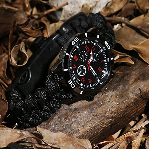 Survie paracord Bracelet de survie d'urgence, Hommes & Femmes horloge avec/Sifflet/Allume-feu/grattoir/Boussole et… 3