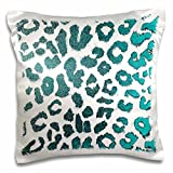 3D Rose Teal Green Jewel Leopard Animal Prints Fashion Design Pillowcase, 16'' x 16''