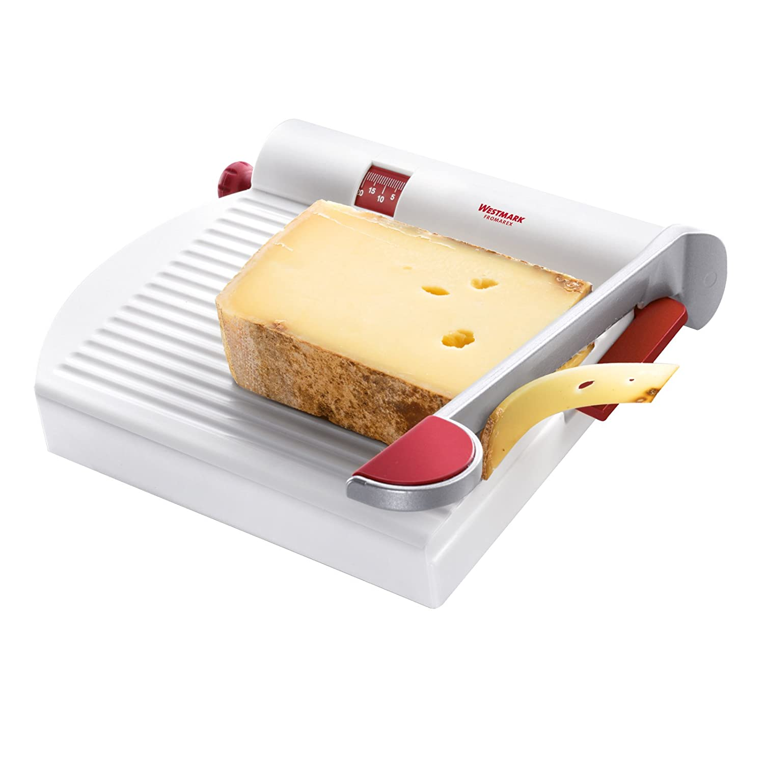 Westmark Germany Multipurpose Stainless Steel Cheese and Food Slicer with Board and Adjustable Thickness Dial (White) 70002260