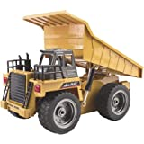 deAO RC Loader Dumper Construction Truck 2.4GHz Sync System for Multi Players Include Rechargeable Battery and Charger