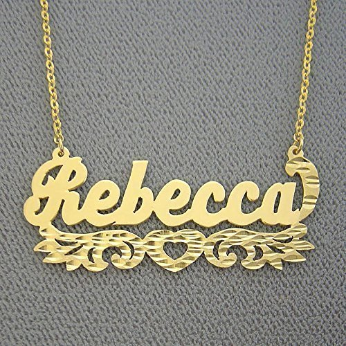 f33097d9de4d9 Amazon.com: Personalized Solid 14k Gold Name Necklace Diamond Cut ...