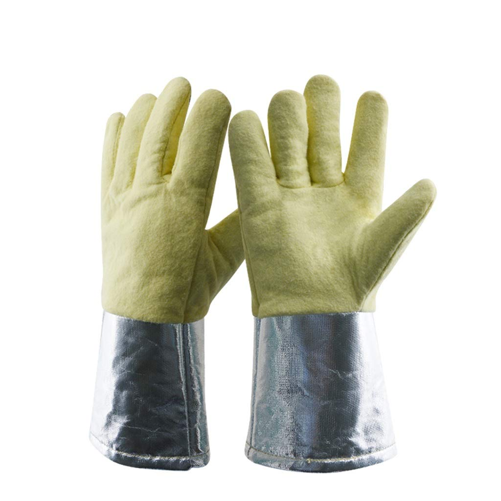 LZRZBH High Temperature Resistant Gloves Aluminum Insulation Flame Retardant Welding Gloves Fireplace Heavy Duty Long Gardening Gloves Industrial Gloves