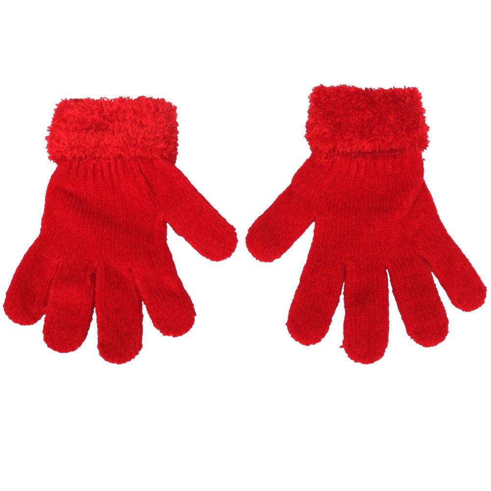 Mashed Clothing Women's & Teens Chenille Magic Gloves With Fuzzy Cuff HC0206-MC-Black
