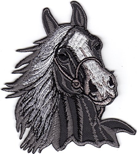 Iron on Patch Embroidered Patches Application Horse Head Riding Sport Farm Cowboy Different Colors (Grey)