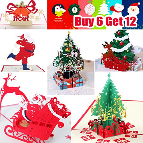 3D Christmas Cards Pop Up Greeting Cards, Funny Unique 3D Holiday Postcards - Gifts for Xmas, Religious Boxed Merry Christmas Thank You Cards - 12 Cards & - Cards Christmas Deals 2017