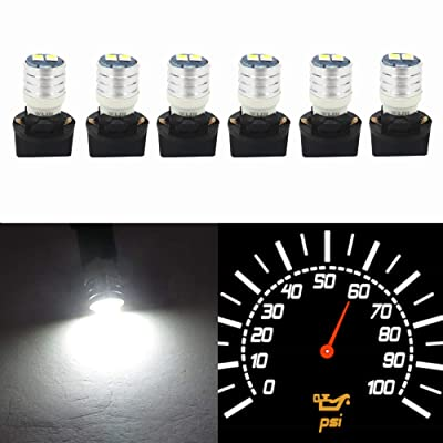 Wljh T10 Led Interior Lights Car Gauge Dashboard Dash Light Instrument Cluster Panel W5W 2825 194 Led Bulb Twist Socket Pc195 Pc194 Pc168 Super Bright 12V (White,Pack Of 6): Automotive