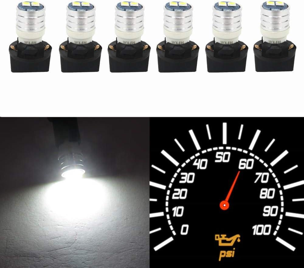 Wljh T10 Led Interior Lights Car Gauge Dashboard Dash Light Instrument Cluster Panel W5W 2825 194 Led Bulb Twist Socket Pc195 Pc194 Pc168 Super Bright 12V (White,Pack Of 6)