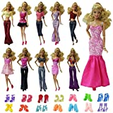 5 Sets Barbie Clothes Mix Shirt & Pants with 5 Pairs of Shoes Accessories for Barbie Doll Random Style - by ZITA ELEMENT