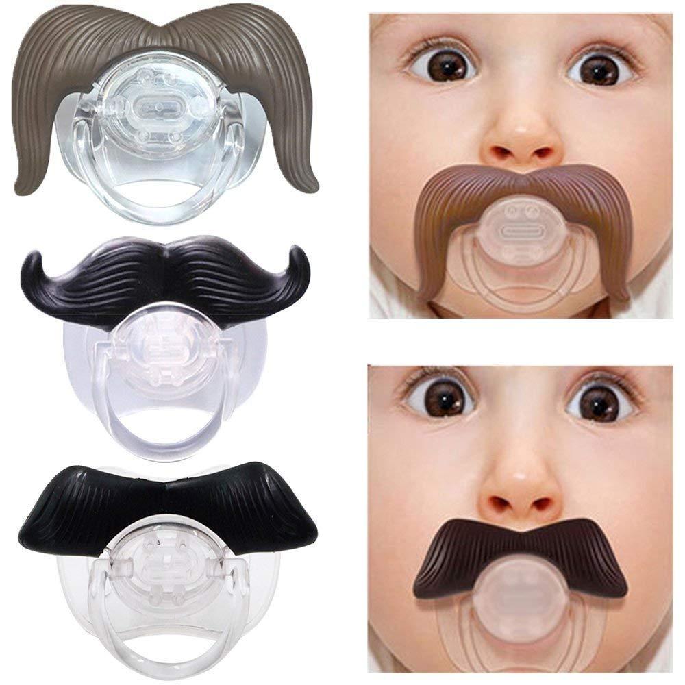 Naisicatar divertido Negro de silicona chupete de bebé infantil del niño Chupete pezones barba del bigote (Roll barba) del bonito regalo