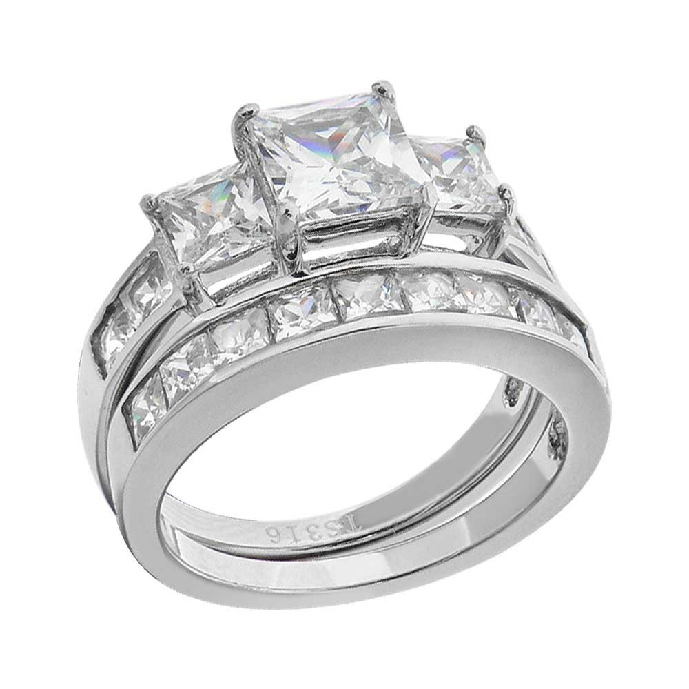 FlameReflection Stainless Steel Princess Cut Wedding Ring Sets For Women CZ Bridal Jewelry size 5-10 spj