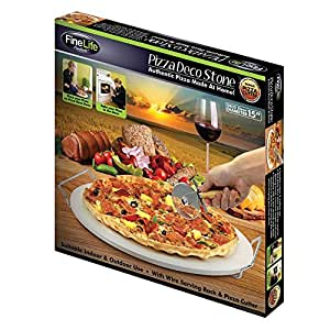 LARGE ROUND 15 PIZZA CERAMIC BAKING STONE SET STEEL RACK CUTTER KNIFE PAN Most Sold Item