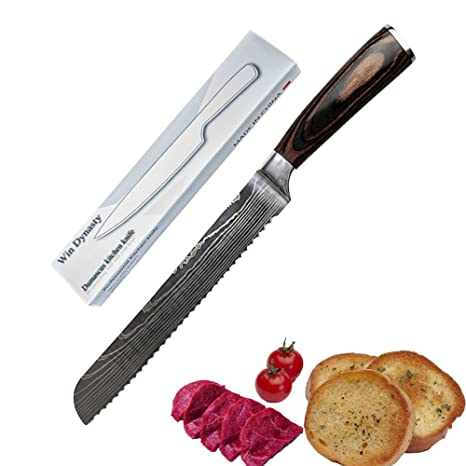 Cuchillo de pan de acero de Damasco, cuchillo de cocina ...