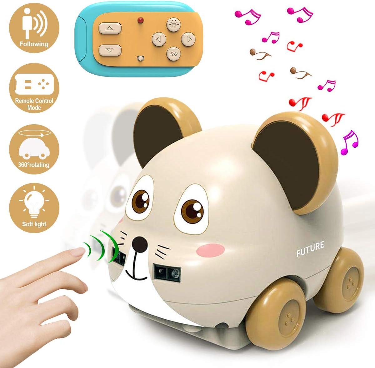 SPECOOL Coches Teledirigidos, Coche RC con Luces de Colores e Interruptor de Música para Niños, Coche de Juguete Infrarrojos Interactivos Giratorias De 360 °LED Juguetes Regalo (Ratón)