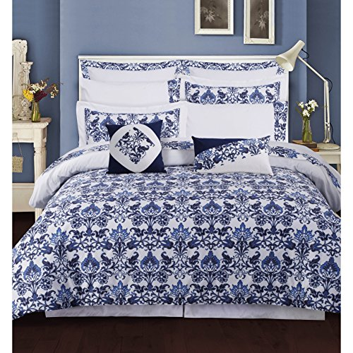 - 12 Piece Cal King, Luxurious Look Classic Exotic Floral Pattern Comforter Set, Contemporary High Class Vibrant Damask Design, Lovely Paisley Flower Themed, Gorgeous Bedding, Adorable Navy, White Color