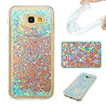 Galaxy A5 (2017) Case,Gift_Source Fashion Creative Bling Glitter Sparkle Liquid Quicksand Flowing Floating Case Rubber TPU Gel Cover Soft Bumper Cases For Samsung Galaxy A5 2017 [Silver Blue Stars]