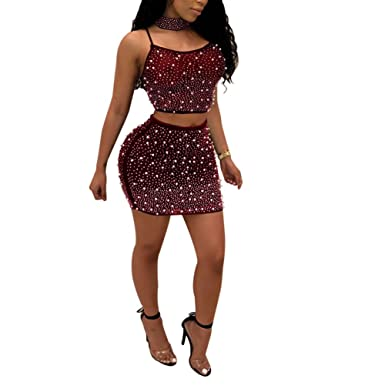 Women 2 Piece Skirt Set Outfits Mesh See Through Rhinestone Crop Top
