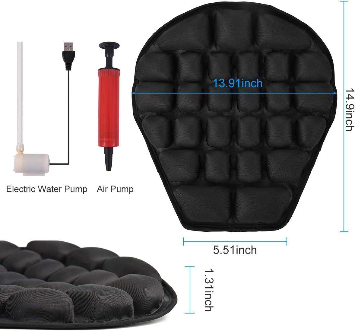 Heran Water Cooling Air Motorcycle Seat Cushion Pressure Relief Ride Seat Pad Large for Cruiser Touring Saddles