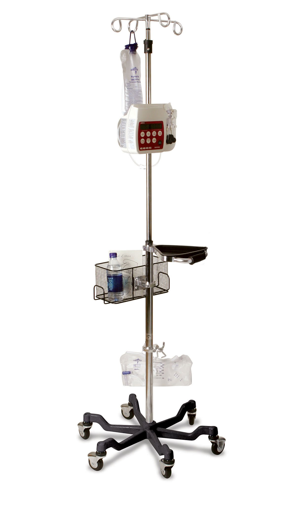 Medline MDS80600BLK Six Leg Heavy Duty IV Pole Stand, 4 Hook, Stainless Steel, Latex Free, 73'' to 99.5'' Adjustable Height, Red Base (Pack of 2)