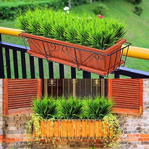m·kvfa Fake Plastic Greenery Shrubs Wheat Grass Window 8 Pcs Artificial Outdoor Plants Hanging Planter Indoor Outside Home Garde