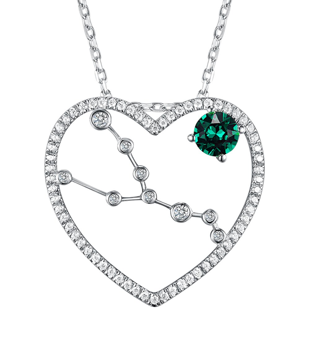 Love Heart My Superstar Zodiac Constellation Jewelry Gifts for Women Taurus Horoscope Pendant Necklace Green Emerald Birthday Anniversary Gift for Lady Her Sterling Silver Swarovski 18''+2'' Chain
