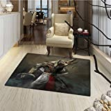Eagle Door Mats Area Rug Egyptian Culture Inspired Holy Figure from Mythological Fantastic Character Bath Mat Bathroom Mat with Non Slip 30''x48'' Brown Multicolor