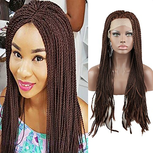 Rossy&Nancy Braided Lace Front Wigs Long Brown Synthetic Wigs Heat Resistant for Black Women Thick Full Hand Braided Synthetic Hair Braided Wig 16inch