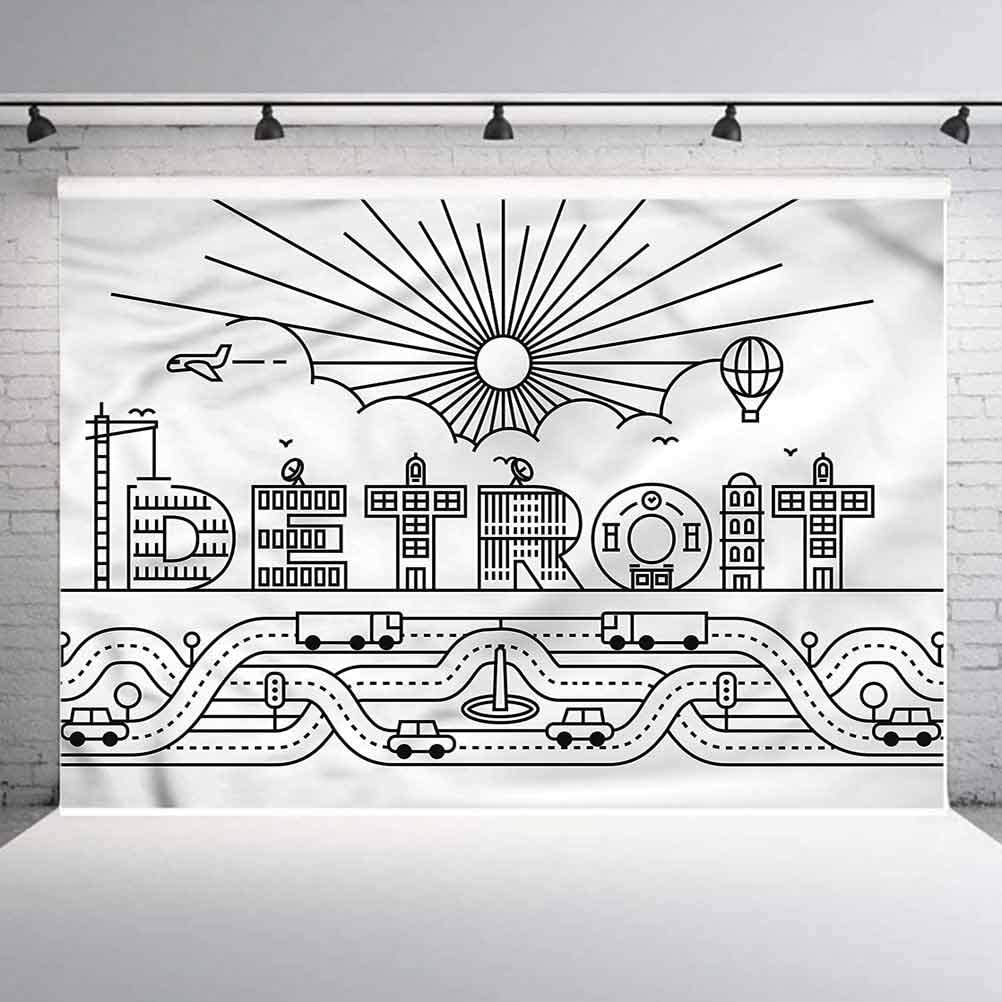 8x8FT Vinyl Wall Photography Backdrop,Detroit,Building Letter Balloon Background for Baby Birthday Party Wedding Graduation Home Decoration