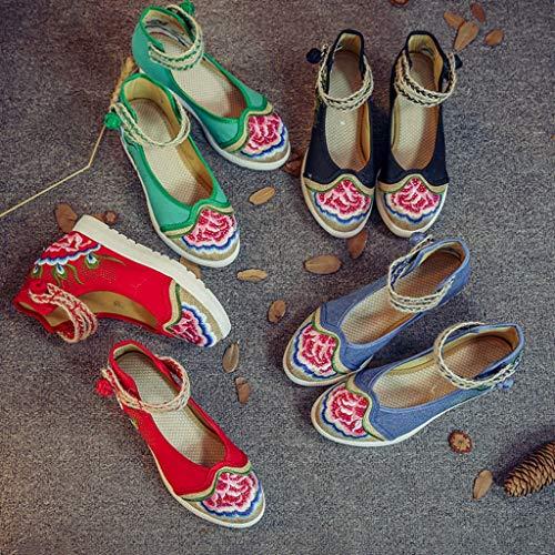La De Ocasionales Alto Paño Las Nacional color Cuña Respirables Mujeres Del Moda Bordados Viento Tacón Negro 40 Zapatos Xhx Red Tamaño wx4AEpq8E