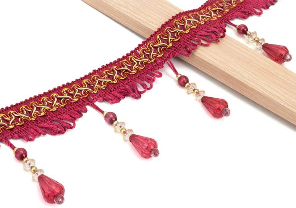 Reddish Violet Wildgirl Curtain Fringe Crystal-Like Beading Tassel Macrame 12.5 Yards