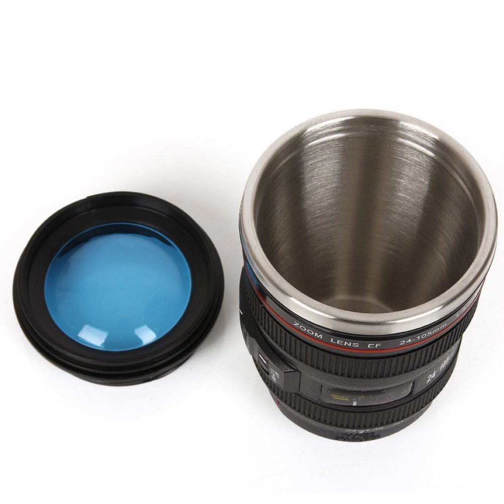 Mango Spot Best Camera Lens Thermos Stainless Steel Cup/ Mug for Coffee or Tea, Black with Clear Glass Lid