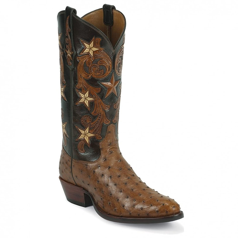 1003 Tony Lama Men's Ostrich Western Boots - Brandy