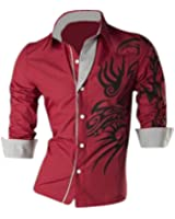SODIAL(R) Cool Hommes Europ¨¦enne Dominatrice Dragon Conception Chemise Mince Fit Attrayante Chemise Rouge Taille XL