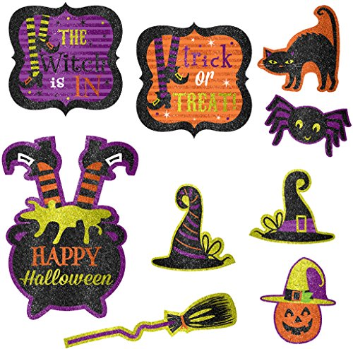 [Halloween Witch's Crew Glitter Cutouts Value Pack - 9 Pack] (Witch Cutouts)