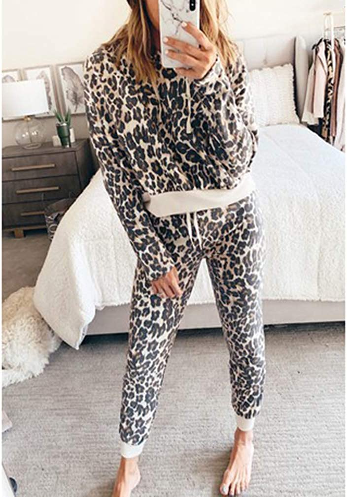 Mxssi Set Tuta Donna Stampa Leopardata 2pezzi Felpa con Cappuccio Top Pantaloni Abbigliamento Sportivo
